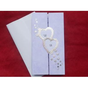 Invitatie de nunta mov cu inimioare pliabila 558 PUBLISERV