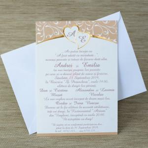 Invitatie de nunta cu inimioare aurii 35236 Polen