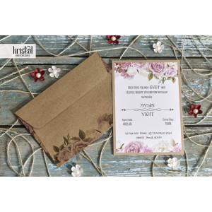 Invitatie de nunta florala cu plic natur 70214 KRISTAL