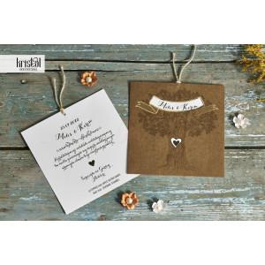 Invitatie de nunta vintage cu inimioara 70267 KRISTAL