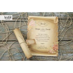 Invitatie de nunta vintage papirus florala 70272 KRISTAL