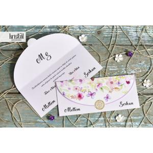 Invitatie de nunta florala cu fluturi 70316 KRISTAL