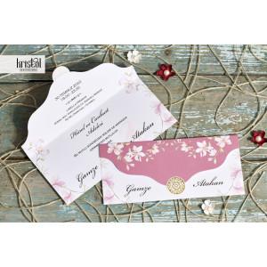 Invitatie de nunta florala roz 70317 KRISTAL