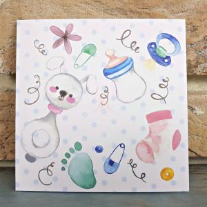 Invitatie de botez cu obiecte bebelus 8052 SEDEF
