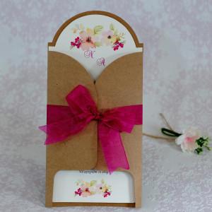 Invitatie de nunta florala crem cu plic natur 22132 POLEN