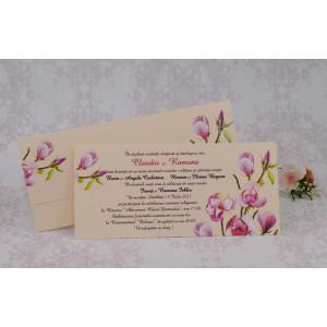 Invitatie de nunta crem cu model floral mov 2204 Polen