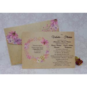 Invitatie de nunta vintage florala 22146 Polen