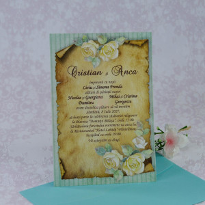 Invitatie de nunta papirus cu plic turquise 22256 Polen