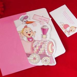 Invitatie de botez trenulet roz cu bebe si jcarii
