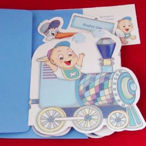 Invitatie de botez trenulet albastru cu jucarii si bebe