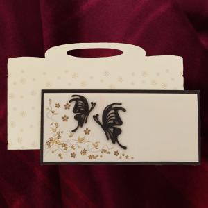Invitatie PREMIUM din lemn cu motiv floral si fluturi 26003 TBZ