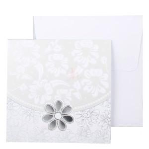 Invitatie de nunta florala gri si argintiu 115438 TBZ