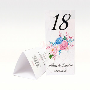 Meniu triunghiular floral cu hortensii MT86 - Alb