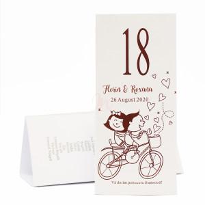 MT95 Alb - Meniu triunghiular cu miri pe bicicleta