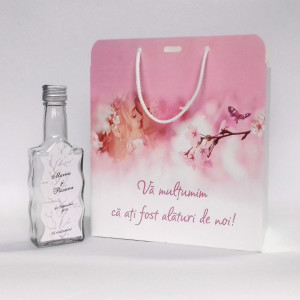 Pachet marturii flori de cires Sticla cu eticheta + Punga 04