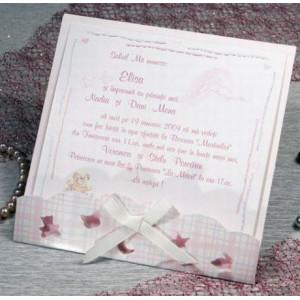 Invitatie de botez eleganta pentru fetite