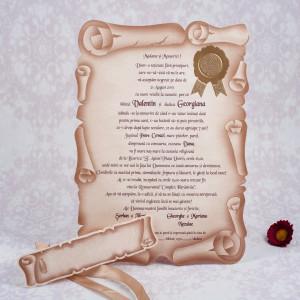 Invitatie de nunta pergament vintage 1086 STYLISH
