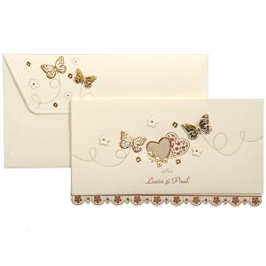 Invitatie de nunta crem florala cu fluturasi si inimioare aurii 119041 TBZ
