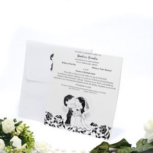 Invitatie de nunta haioasa cu miri in alb si negru 140016 TBZ