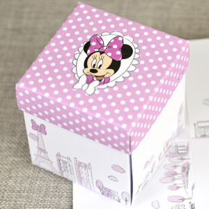 Invitatie de botez tip cutiuta cu Minnie Mouse 15728 DELUXE
