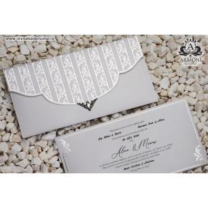 Invitatie argintie stil baroc 19319 ARMONI