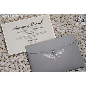 Invitatie argintie cu cristal 19347 ARMONI