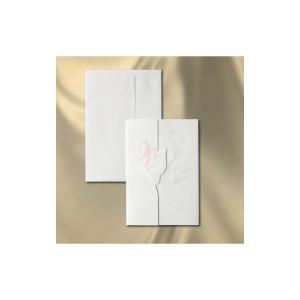 Invitatie de nunta din carton alb, tiparit in relief cu tema florala cu cale.