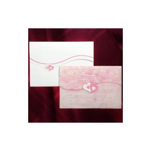 Invitatie de nunta cu calc roz si inimioare 150012 TBZ