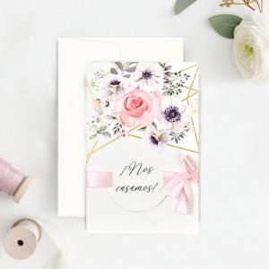 Invitatie florala cu panglica roz 39723 CLARA
