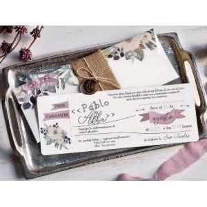 Invitatie cu model retro-floral 39805 EMMA
