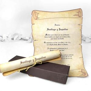 Invitatie rustica tip pergament 32830 CLARA