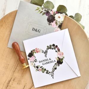 Invitatie de nunta cu inima din trandafiri 39775 ECONOMIQ