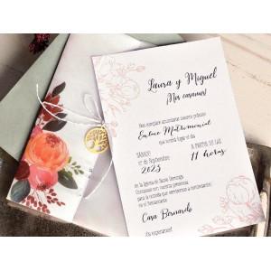 Invitatie cu model floral 39819 EMMA