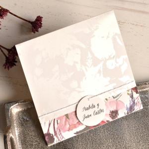 Invitatie cu model floral si fundita 39826 EMMA