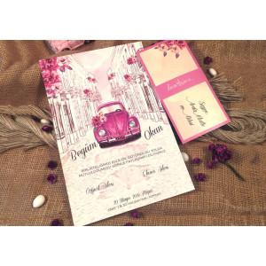 Invitatie cu flori si masina 52557 ELA