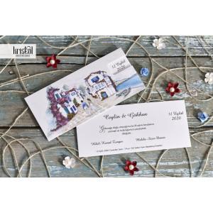 Invitatie de nunta florala cu tema marina 70109 KRISTAL