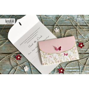 Invitatie de nunta florala cu fluturi 70124 KRISTAL