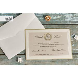 Invitatie de nunta clasica cu chenar auriu 70212 KRISTAL