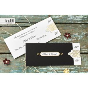 Invitatie de nunta eleganta cu auriu 70216 KRISTAL