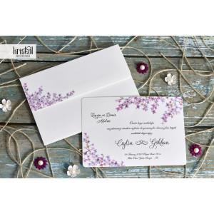 Invitatie de nunta florala mov 70217 KRISTAL
