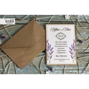 Invitatie de nunta rustica cu lavanda 70231 KRISTAL