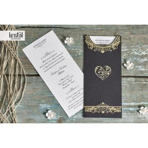 Invitatie de nunta eleganta cu inima aurie 70289 KRISTAL