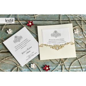 Invitatie de nunta eleganta crem cu auriu 70292 KRISTAL