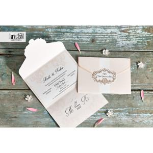 Invitatie de nunta florala somon 70349 KRISTAL