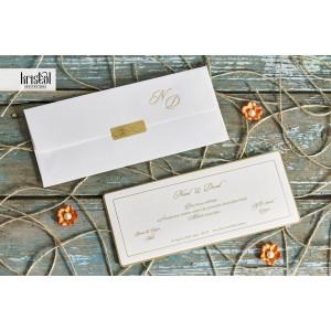Invitatie de nunta clasica cu chenar auriu 70769 KRISTAL