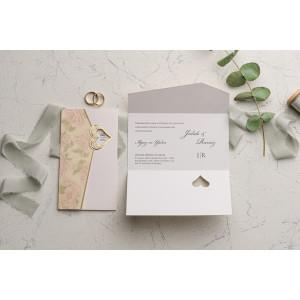 Invitatie de nunta cu motiv floral 9102 EKONOM