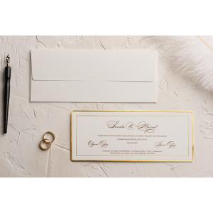 Invitatie de nunta clasica cu chenar auriu 9116 EKONOM