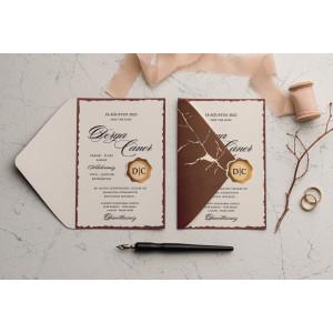 Invitatie de nunta conceptuala cu sigiliu 9125 EKONOM