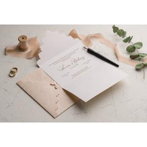 Invitatie de nunta boho chic carton reliefat 9127 EKONOM