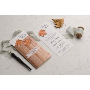 Invitatie de nunta de toamna, cu frunze 9168 EKONOM